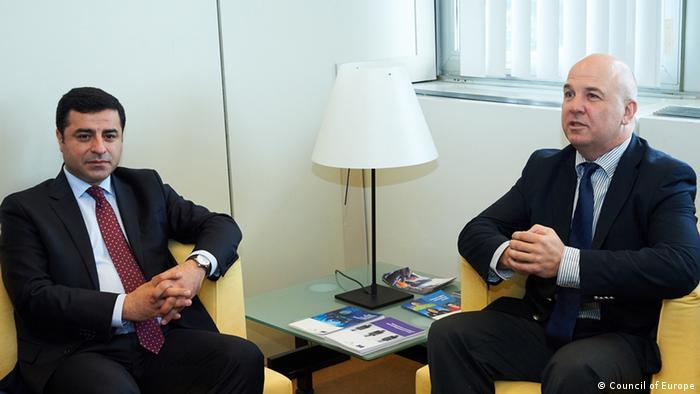 Selahattin Demirtaş Avrupa Konseyi İnsan Hakları Komiseri Nils Muižnieks ile.