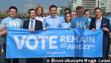 06.06.2016++++++EU referendum. EMBARGOED TO 0001 MONDAY JUNE 6 Chancellor George Osborne (centre) in Belfast Harbour in Northern Ireland to meet members of the NI Stronger In campaign group who wish to remain in the EU, as Brexit would trigger a profound economic shock in Northern Ireland and result in an inevitable hardening of the Irish border, the Chancellor will warn on a visit to the region. Picture date: Sunday June 5, 2016. Osborne will point to a new Treasury analysis and suggest unemployment would rise by 14,000 in Northern Ireland over two years if the UK left the European Union, with 2,000 added to the youth unemployment figure. See PA story POLITICS EU Ulster. (c) picture-alliance/PA Wire/N. Carson Copyright: imago/Westend61