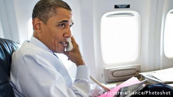 Barack Obama an Bord von Air Force One