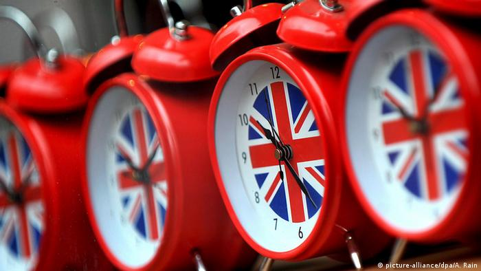 Alarm clocks showing UK flag