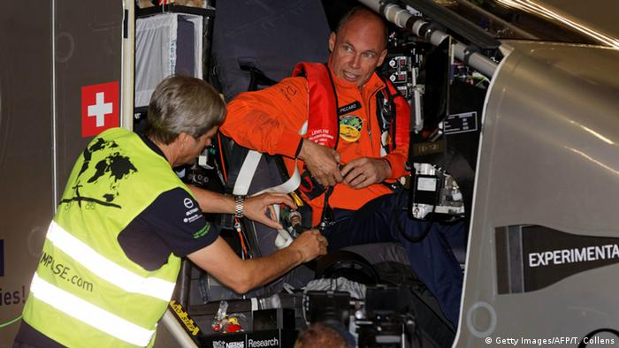 Bertrand Piccard in the small Solar Impulse 2 cockpit. (Photo: TREVOR COLLENS/AFP/Getty Images)