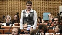20.06.2016+++ The 35-year-old army helicopter pilot, Ukrainian Nadiya Savchenko elected as an Ukrainian MP in absentia during almost two years in a Russian jail, delivers a speech at the Parliamentary Assembly of the Council of Europe, in Strasbourg, eastern France, on June 20, 2016. / AFP / FREDERICK FLORIN (Photo credit should read FREDERICK FLORIN/AFP/Getty Images) (c) Getty Images/AFP/F. Florin