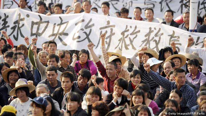 China Bürger Proteste Demonstration in Wukan (Getty Images/AFP/P.Parks)