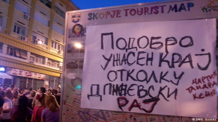 Mazedonien Anti-Regierungsproteste in Skopje (DW/K. Ozimec)