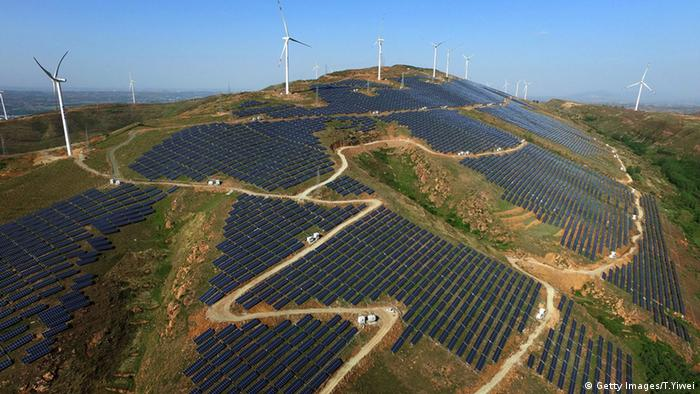 A green energy base in China's central Henan Province with both wind and solar power