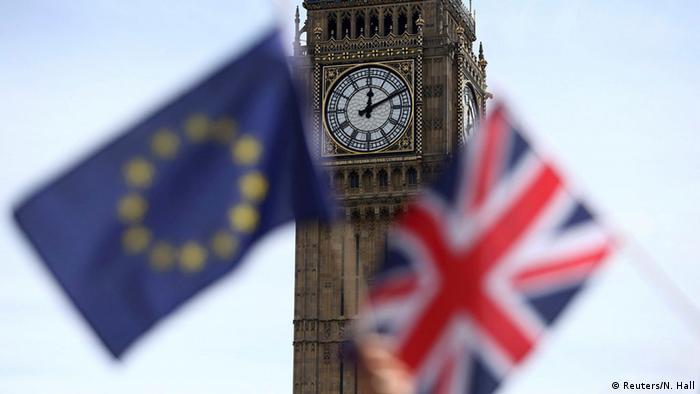 Флаги ЕС и Великобритании на фоне Биг Бена