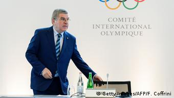 Schweiz IOC - PK in Lausanne - Präsident Thomas Bach