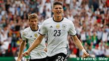 21.06.2016 Football Soccer - Northern Ireland v Germany - EURO 2016 - Group C - Parc des Princes, Paris, France - 21/6/16 Germany's Mario Gomez celebrates after scoring their first goal REUTERS/John Sibley Livepic Copyright: Reuters/J. Sibley