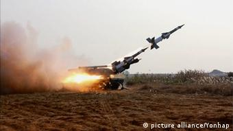 N. Korea's anti-aircraft rocket The photo released by North Korea's state-run Rodong Sinmun on Nov. 3, 2015 is presumed to be from a firing drill at an anti-aircraft unit reported by the newspaper (Photo: picture alliance/Yonhap)