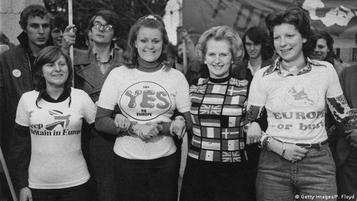Margaret Thatcher at a pro-EU rally