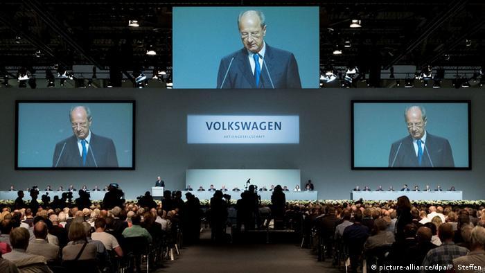Aspecto de la asamblea de accionistas de VW en Hannover