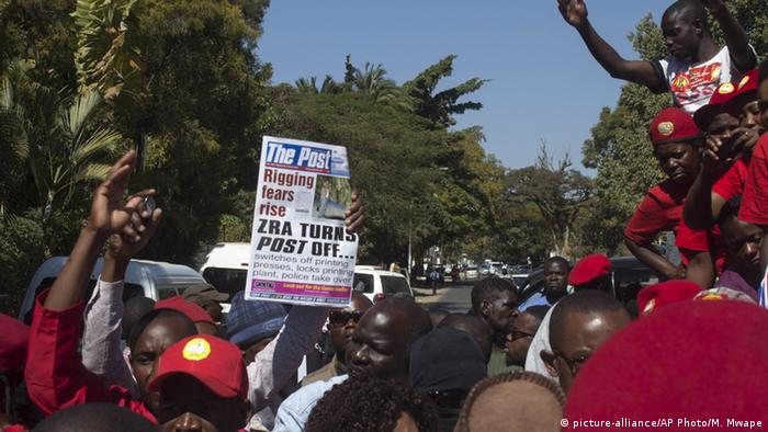 Zambians protest the closing of The Post newspaper