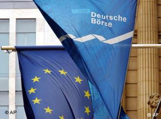 The flag of the Deutsche Boerse and that of the European Union
