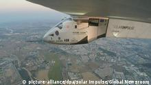 23.06.2016 A handout picture made available by Solar Impulse shows Swiss long-range experimental solar-powered aircraft Solar Impulse 2 (Si2) during its final leg of an around-the-world journey over the Atlantic Ocean, approaching Spain, early 23 June 2016. Si2 started its latest journey from New York's JFK International Airport, USA, on 20 June, by crossing the Atlantic Ocean in an attempt to reach Seville, Spain, in about 90 hours flight. It is the first time a solar-powered aircraft attempts to cross the Atlantic. EPA/SOLAR IMPULSE/GLOBAL NEWSROOM -- BEST QUALITY AVAILABLE -- HANDOUT EDITORIAL USE ONLY/NO SALES +++(c) dpa - Bildfunk+++ | (c) picture-alliance/dpa/solar Impulse/Global Newsroom