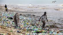 13 June 2016 - epa05361332 A photograph made availavble 13 June 2016 shows a Ghanaian collecting recyclable material at the polluted Korle Gono beach, that is covered in plastic bottles and other items washed ashore, following weeks of heavy flooding in Accra, Ghana 12 June 2016. The recyclable materials were washed from the capital Accra through the Korle lagoon ending up at the beach. Waste pollution is a continuing problem in Ghana. EPA/CHRISTIAN THOMPSON +++(c) dpa - Bildfunk+++   (c) picture-alliance/dpa/C. Thompson