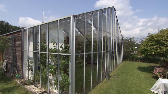An einer grünen Wiese steht ein großes Gewächshaus aus Glas, in dem mehrere Pflanzen zu sehen sind.