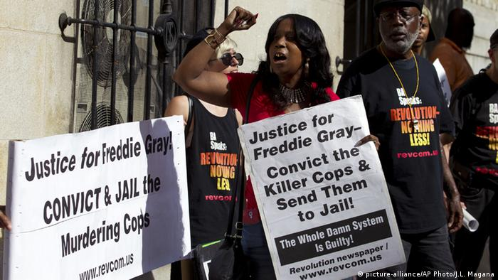Protesters slammed the acquittal outside of the courthouse, demanding police be held responsible for Gray's death