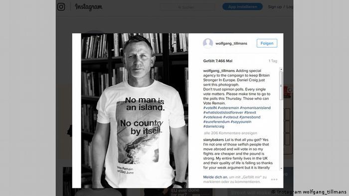 A screenshot from Instagram shows actor Daniel Craig in a pro-EU t-shirt (Instagram wolfgang_tillmans)