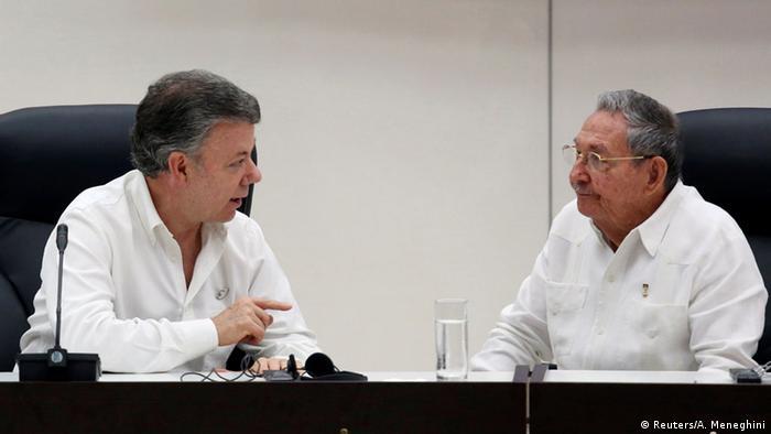 Kuba Raul Castro und Juan Manuel Santos in Havanna
