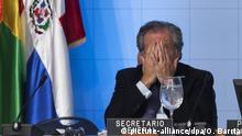 15.06.2016 *** epa05368433 Secretary General of the Organization of American States (OAS) Luis Almagro reacts during a session of the XLVI OAS Ordinary General Assemby of the Organization of American States in Santo Domingo, Dominican Republic, 15 June 2016. EPA/ORLANDO BARRIA +++(c) dpa - Bildfunk+++ | © picture-alliance/dpa/O. Barria