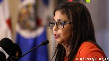 15.06.2016 *** Venezuela's Foreign Minister Delcy Rodriguez speaks at a news conference at the 46th General Assembly of the Organization of the American States (OAS) in Santo Domingo, Dominican Republic June 15, 2016. REUTERS/Ricardo Rojas © Reuters/R. Rojas
