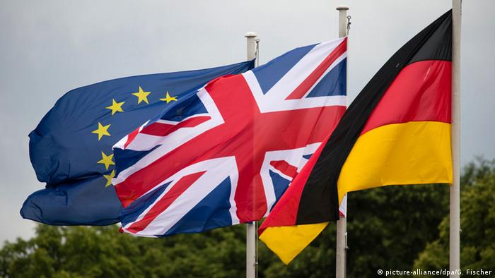 The EU, British and German flags