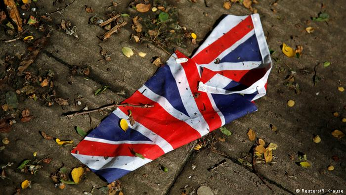 London Brexit Referendum - a British flag washed away by the rain, Copyright: Reuters/R. Krause