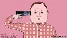 Karikatur Sergey Elkin Folgen der russischen TV-Propaganda