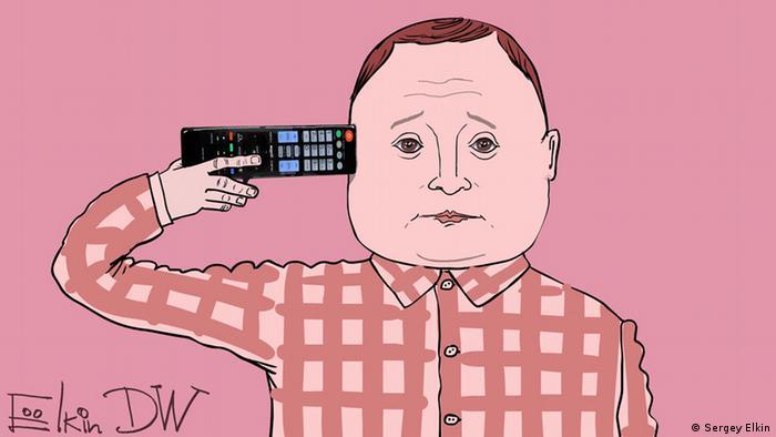 Карикатура Сергея Елкина на тему пропаганды на российском ТВ