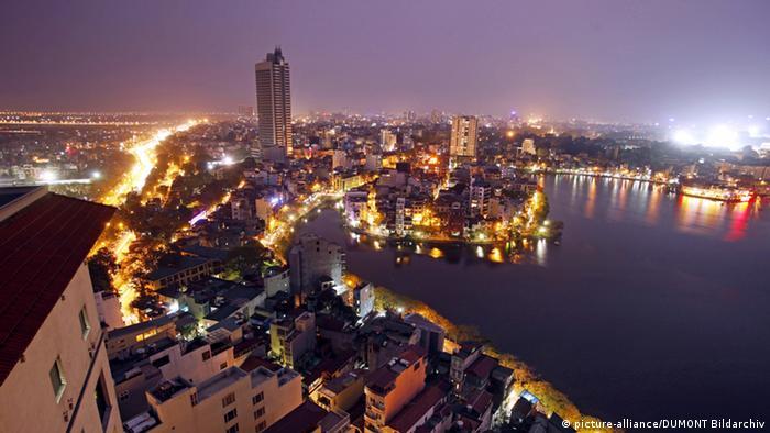 The skyline of Hanoi at nighttime