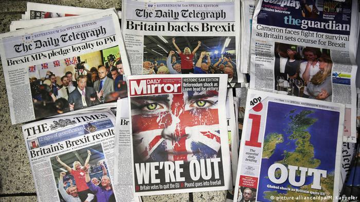 front pages of British newspapers after Brexit