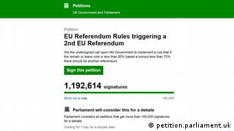 Screenshot of petition for second EU referendum