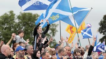 Supporters of independence for Scotland at a 'Rally for Scottish Independence' in Edinburgh, Scotland.