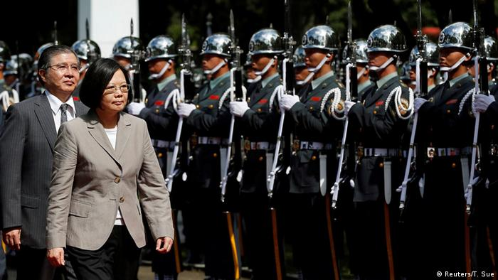 Taiwanese President Tsai Ing-wen inspects honour guard before a ceremony to mark the 92nd anniversary of the Whampoa Military Academy, in Kaohsiung, southern Taiwan June 16, 2016 (Photo: REUTERS/Tyrone Siu)