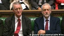1.5.2016*** EU council statement. File photo dated 05/01/2016 of Labour Party leader Jeremy Corbyn (right) and Shadow foreign secretary Hilary Benn who he has sacked after he raised concerns about his leadership. Issue date: Sunday June 26, 2016. See PA story POLITICS EU. Photo credit should read: PA Wire URN:26714011 | picture alliance/empics/PA Wire