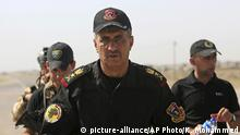 3.06.2016 *** Lt. General Abdul-Wahab al-Saadi, center, commander for the Iraqi counterterrorism forces' operation to re-take Fallujah from Islamic State militants, directs his forces outside the city Friday, June 3, 2016. The battle for Fallujah, now two weeks old, is shaping up unlike others in the Iraqi military's town-by-town war with the Islamic State group: Airstrikes have been sparingly employed, Shiite militias have so far been kept to the perimeter, and the initial advance on the symbolically important town has been slow. (AP Photo/ Khalid Mohammed) Copyright: picture-alliance/AP Photo/K. Mohammed