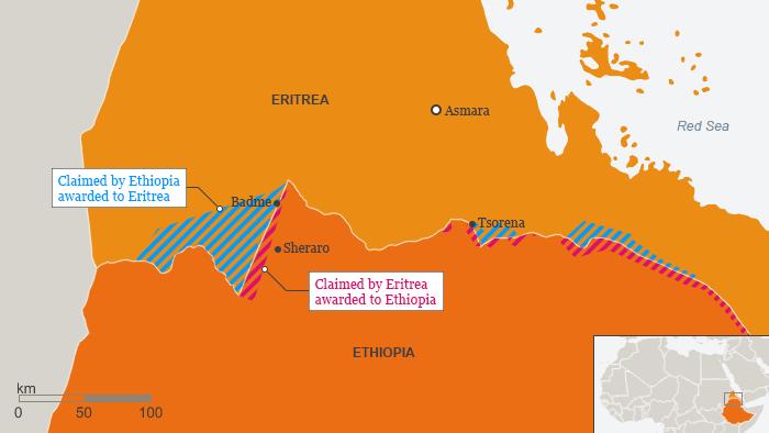 Karte Äthiopien Eritrea Grenze Englisch