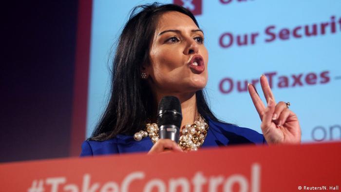 Priti Patel at a Vote Leave rally in London