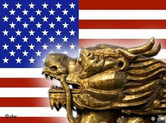 Chinese dragon against the backdrop of the US flag
