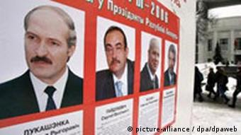Election poster with Lukashenko and opponents