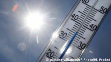 Gluthitze in Deutschland - Thermometer in der Sonne