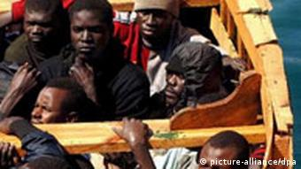 Illegal immigrants from Africa arrive in the Canary Islands by boat
