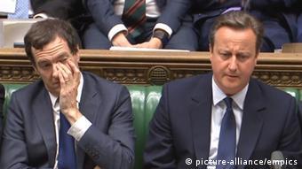 England Parlamentssitzung Premierminister David Cameronv und George Osborne