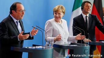 Francois Hollande, Angela Merkel şi Matteo Renzi