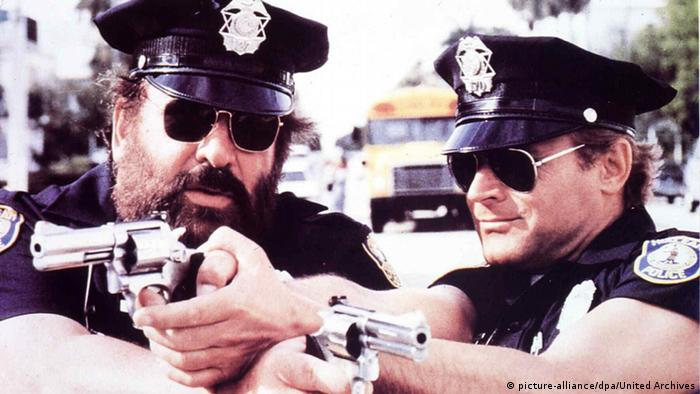 Bud Spencer and Terence Hill in 'Miami Super Cops' 1985, Copyright: picture-alliance/dpa/United Archives