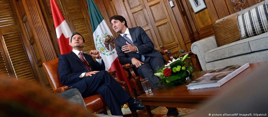 O presidente do México, Enrique Peña Nieto (esq.), e o premiê do Canadá, Justin Trudeau, em reunião em junho de 2016