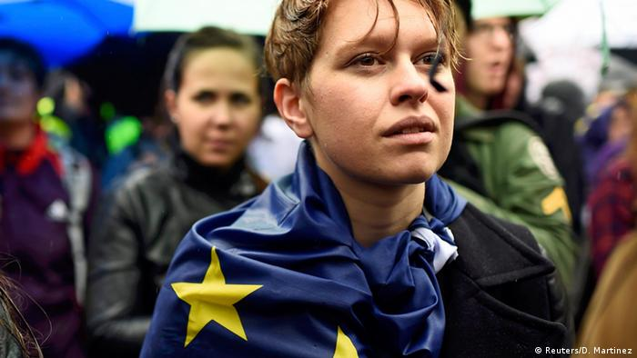 Demonstrators take part in a protest to show solidarity with the EU following Britain's Brexit referendum in 2016