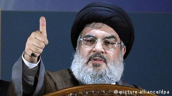 Hezbollah leader Hassan Nasrallah speaking at a rally