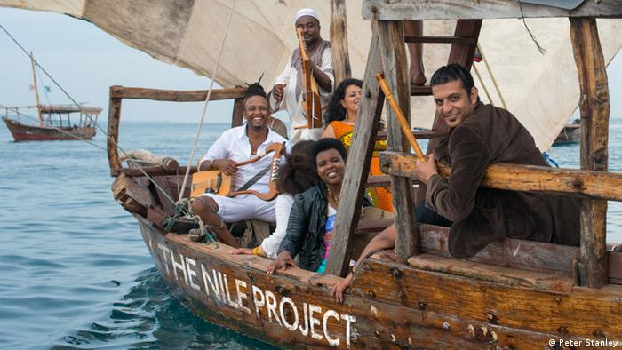 Nile Project in a boat off the coast of Tanzania (Photo: Peter Stanley)