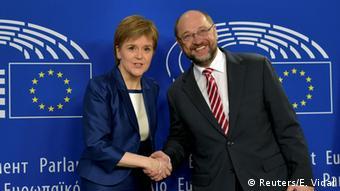 Belgien Europaparlament Nicola Sturgeon trifft Martin Schulz